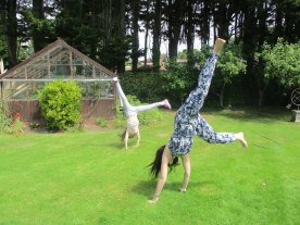 2 years later. Carefree cartwheels together. Best friends.